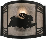 Meyda Tiffany 157299 Rabbit on the Loose Right Country Black / Silver Mica Fluorescent Wall Lighting