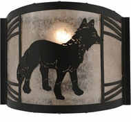 Meyda Tiffany 157302 Fox on the Loose Right Rustic Black / Silver Mica Fluorescent Lighting Sconce