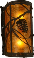 Meyda Tiffany 157371 Whispering Pines Rustic Oil Rubbed Bronze / Amber Mica Lighting Wall Sconce