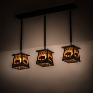 Meyda Tiffany 15748 Bear at Dawn Craftsman Black Multi Pendant Lighting