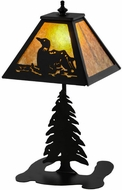Meyda Tiffany 157916 Loon Rustic Black / Amber Mica Side Table Lamp