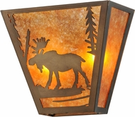 Meyda Tiffany 158334 Moose Creek Rustic Antique Copper / Amber Mica Lamp Sconce