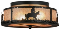 Meyda Tiffany 158522 Cowboy & Steer Rustic Black / Silver Mica Flush Mount Lighting