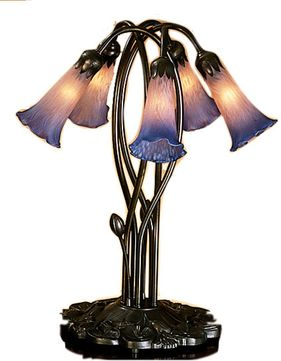 Meyda Tiffany 15856 Pink/Blue Pond Lily Traditional Accent Table Lighting