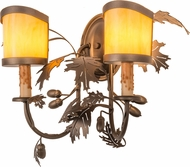 Meyda Tiffany 158693 Oak Leaf & Acorn Country Tyler Bronze / Earth Marble Acry Wall Lighting Sconce