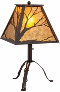 Meyda Tiffany 158717 Branches Rustic Mahogany Bronze / Amber Mica Table Lamp