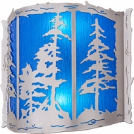 Meyda Tiffany 158830 Tall Pines Rustic Nickel / Blue Rain Acrylic Fluorescent Wall Lighting Fixture