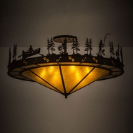 Meyda Tiffany 158842 Fishtracks Country Cafe Noir / Amber Mica Home Ceiling Lighting