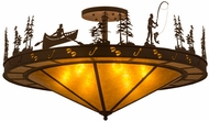 Meyda Tiffany 158847 Fishtracks Rustic Cafe Noir / Amber Mica Overhead Light Fixture