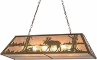 Meyda Tiffany 159030 Moose at Lake Rustic Antique Copper / Silver Mica Kitchen Island Lighting