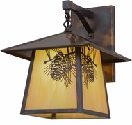 Meyda Tiffany 159314 Stillwater Winter Pine Country Bai Dark Burnished Antique Copper / Chemical Finish Exterior Wall Sconce Light