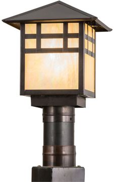 Meyda Tiffany 159393 Seneca Window Pane Craftsman Bai Craftsman Outdoor Post Light Fixture