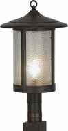 Meyda Tiffany 159490 Fulton Prime Craftsman Brown / Zag Glass Exterior Pole Lighting Fixture