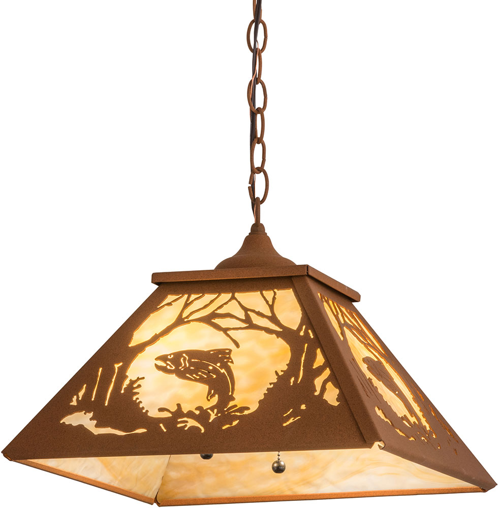 marvelous Northwoods Lighting Fixtures Part - 18: Meyda Tiffany 159801 Northwoods Leaping Trout Rustic Earth - Ba Ceiling Pendant  Light. Loading zoom