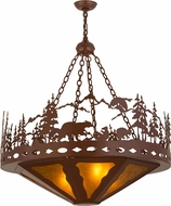 Meyda Tiffany 159805 Bear Family Country Rust / Amber Mica Drop Ceiling Light Fixture