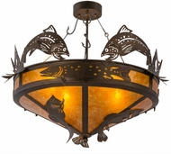 Meyda Tiffany 160001 Catch of the Day Country Antique Copper / Amber Mica Flush Mount Ceiling Light Fixture