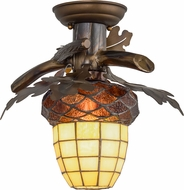 Meyda Tiffany 160236 Acorn Branch Country Antique Copper Burnished Overhead Lighting Fixture