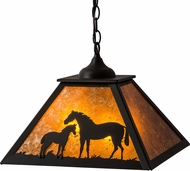 Meyda Tiffany 160470 Mare & Foal Rustic Black / Amber Mica Pendant Lighting