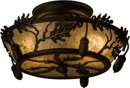 Meyda Tiffany 160484 Oak Leaf & Acorn Rustic Oil Rubbed Bronze / Silver Mica Fluorescent Ceiling Lighting Fixture
