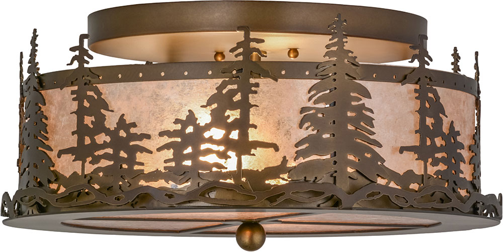 Meyda Tiffany 160561 Tall Pines Country Antique Copper Silver Mica Ceiling Light Fixture Loading Zoom