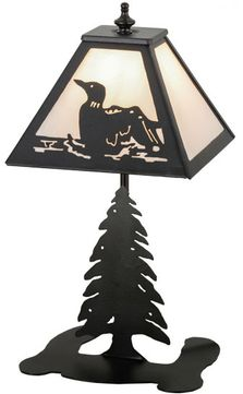 Meyda Tiffany 160847 Loon Country Black / White Alabaster Lighting Table Lamp