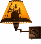 Meyda Tiffany 160891 Cabin in the Woods Country Mahogany Bronze Swing Arm Lamp