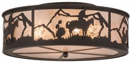 Meyda Tiffany 161103 Cowboy Rustic Dark Roast / Silver Mica Flush Mount Light Fixture