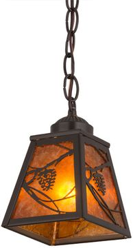 Meyda Tiffany 161269 Whispering Pines Rustic Timeless Bronze / Amber Mica Mini Ceiling Pendant Light