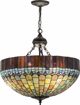 Meyda Tiffany 161783 Tiffany Candice Tiffany Green / Blue Pbag Drop Lighting Fixture