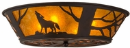 Meyda Tiffany 162070 Northwoods Wolf on the Loose Rustic Oil Rubbed Bronze / Amber Mica Overhead Light Fixture