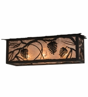 Meyda Tiffany 162344 Whispering Pines Black/Silver Mica Flush Ceiling Light Fixture