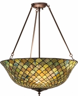 Meyda Tiffany 162424 Tiffany Fishscale Tiffany Green / Blue Mahagony Bronze Ceiling Pendant Light