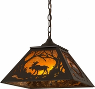 Meyda Tiffany 162470 Moose at Dawn Country Oil Rubbed Bronze / Amber Mica Drop Ceiling Light Fixture