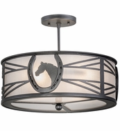 Meyda Tiffany 162606 Horseshoe Blackened Pewter/Clear Frosted Overhead Light Fixture