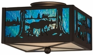 Meyda Tiffany 163101 Moose at Lake Oil Rubbed Bronze Clear Frosted Pendant Lamp