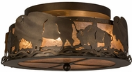Meyda Tiffany 163246 Buffalo Country Antique Copper / Silver Mica Ceiling Lighting Fixture
