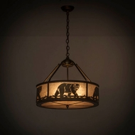 Meyda Tiffany 164099 Black Bear Antique Copper / Silver Mica Drum Ceiling Pendant Light