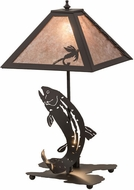 Meyda Tiffany 164182 Leaping Trout Oil Rubbed Bronze/Silver Mica Table Lamp