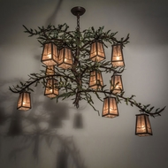 Meyda Tiffany 164833 Pine Branch Valley View Country Cafe Noir / Green Needles Chandelier Light
