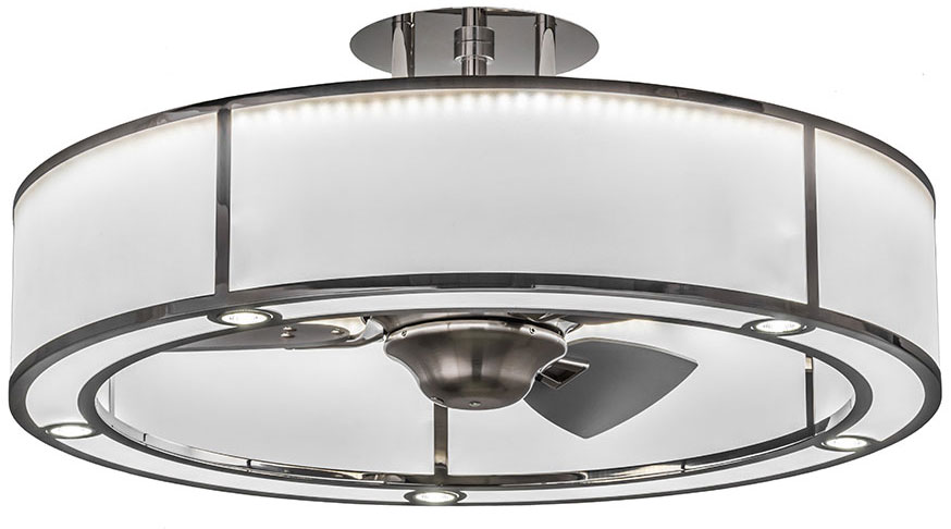 Meyda Tiffany 165941 Smythe Craftsman Polished Stainless Steel Nickel Led Chandel Air Ceiling Fan Loading Zoom