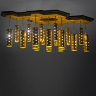 Meyda Tiffany 166088 Emmentaler Contemporary Gold Anodized Multi Ceiling Pendant Light