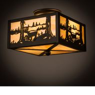 Meyda Tiffany 166326 Deer at Lake Country Oil Rubbed Bronze Ceiling Light