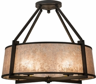 Meyda Tiffany 170599 Cilindro Lucy Wrought Iron / Silver Mica Flush Mount Light Fixture