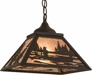 Meyda Tiffany 171360 Canoe Tall Pines Country Oil Rubbed Bronze / Silver Mica Drop Ceiling Lighting