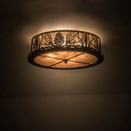 Meyda Tiffany 171361 Mountain Pine Rustic Oil Rubbed Bronze / Silver Mica Ceiling Lighting
