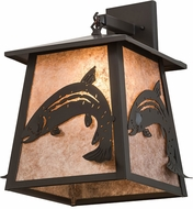 Meyda Tiffany 171917 Stillwater Leaping Trout Country Timeless Bronze / Silver Mica Wall Light Sconce