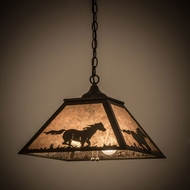 Meyda Tiffany 172894 Running Horse Timeless Bronze / Silver Mica Hanging Pendant Lighting
