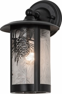 Meyda Tiffany 173165 Fulton Winter Pine Country Zald / Solar Black Exterior Wall Sconce Lighting