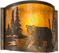 Meyda Tiffany 174065 Northwoods Lone Bear Country Antique Copper Wall Light Fixture