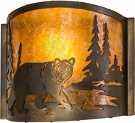 Meyda Tiffany 174066 Northwoods Lone Bear Country Antique Copper / Amber Mica Light Sconce